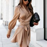 Casual Satin Belt Dress 2020 A Line Party Club Lantern Sleeve V Neck Sexy Mini Streetwear New Fashion Solid Color Autumn