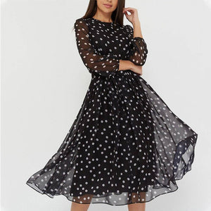 Elegant Dot Print Long Sleeve Women Dress 2020 New Boho Casual O-Neck Chiffon A-Line Dress 2020 Vintage Party Vestidos