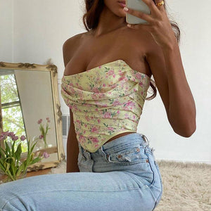 Newasia Boned Floral Crop Top 2020 Women Ruched Off Shoulder Sexy Corset Vintage Sweet Print Top 2020 Summer Backless Bustier New
