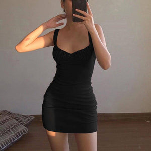 Sexy Skinny Bralette With Bow Low Cut Slim Dress 2021 Women Summer Fashion Sleeveless Backless Dress 2021 Female Party Club