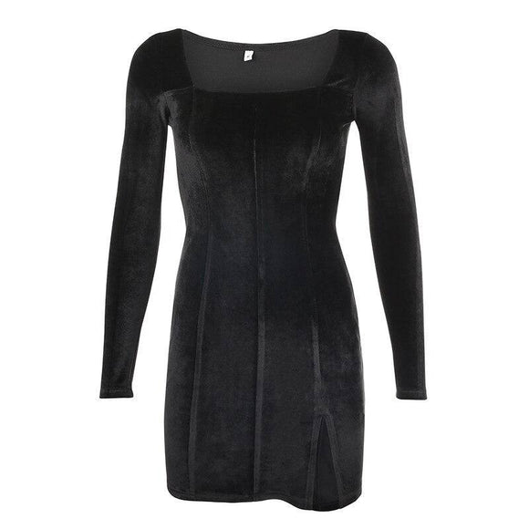 Velvet Women Dress 2020 Bodycon Modis Soild Autumn Winter Elegent Split Femme Dress 2020 Party Long Sleeve Gothic Clothes