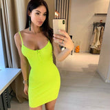 Ribbed Knitted Neon Women Mini Dress 2020 Sexy Solid Bodycon Summer Festival Streetwear Clothes Party Elegant Clothing