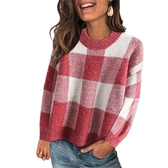 Fashion Women Warm Knitted Sweater Long Sleeve Plaid Loose Knitwear Elegant Ladies Truien Dames Pullover 2020 Top Knitwear Streetwear Pullover Sweater 2020</p>