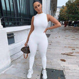 New Women Jumpsuit Romper 2020 Sleeveless Bodycon Sports Yoga Jumpsuit Running Solid White Black Grey Romper 2020 Trousers Summer