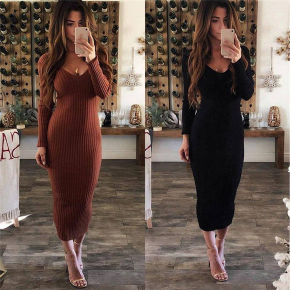Hirigin New Fashion Women Winter Warm Knitted Sweater Dress 2020 Bodycon Slim V-Neck Long Maxi Dress 2020 Pencil Party Dress 2020 Sundress