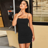 Sleeveless Red Tight Sexy Dress 2020 Spaghetti Strap Summer Mini Short Dress 2020 Women Black Ruched Party Bodycon Dress 2020