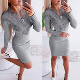 Autumn Winter Bodycon Lace Elegant Midi Dress 2020 Deep V-Neck Sexy Party Women Dress 2020 Fashion Package Hip Ladies Dress 2020 Vestido