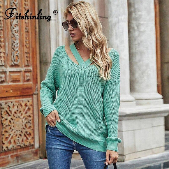 Casual V Neck Jumper Sweater 2020 For Women 5 Colors Long Sleeve Pullover Knitwear Autumn Winter Sweater 2020 Female Clothes