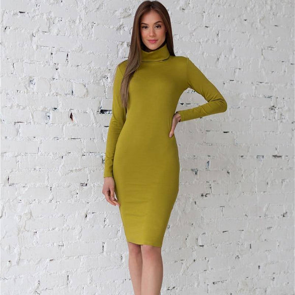 Sexy Slim Bodycon Dress 2020 Turtleneck Winter Warm Women Long Sleeve O Neck Knee Length Elastic Party Dress 2020 New Fashion Elegant