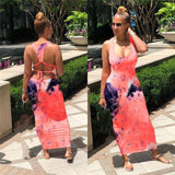 Tie Dyeing Print Backless Dress 2020 New Fashion Women Sleeveless Tank Long Maxi Dress 2020 Bodycon Summer Soft Party Dress 2020 Sundress