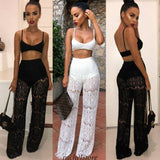 New Women Lace 2 Piece Set Crop Top 2020 And Long Pants Bodycon Outfits Long Beach Jumpsuit Ladies Fashion Sexy Sets
