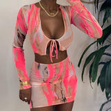 Winter Women Mesh Printed 2 Two Piece Set Bodycon Tracksuit Outfits Long Sleeve Crop Top 2020 Tshirt Skirt Set Female