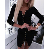 Long Sleeve Buttons Dress 2020 Fashion Women Knitted Bodycon V-Neck Dress 2020 Fall Winter Warm Party Short Mini Pencil Split Dress 2020