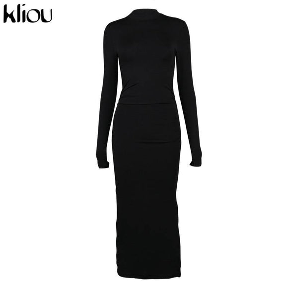 Long Sleeve Dresses 2020 Kliou Side Slit Stacked Fashion Women Maxi Dress 2020 Autumn Long Sleeve Skinny Solid Party Clubwear Bodycon Dress 2020 Slim Sale