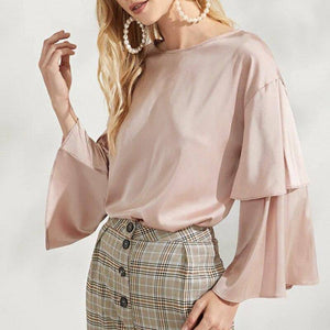 Casual Satin Flared Sleeve Loose Top 2020 Shirt Long Sleeve O Neck European New Solid Color Autumn