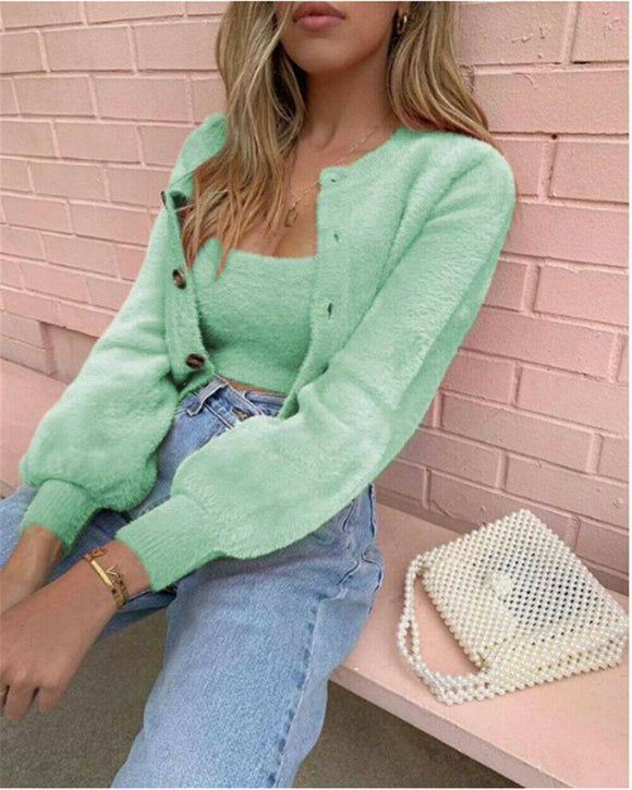 2 Pcs Casual Womens Long Sleeve Knitted Fluffy Cardigan Sweater 2020 Suit Female Pink Slim Button Crop Sweater 2020 Tops Plus Size S-Xl