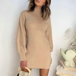 Vintage Women Khaki Dress 2020 Winter Warm Long Sleeves Casual Solid Color Slim Waist Sheath Dress 2020 For Women Elegant Clothes