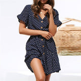 V neck Women's Dress Polka dot 2020 Summer Dresses For Women Short Sleeve Button Dress Ladies robe femme Navy blue & White D30