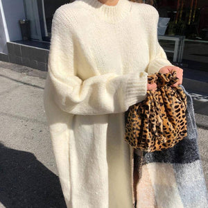 Casual Loose Sweater Dress 2020 Winter Women Fashion Knitting Dress 2020 Long Pullovers Korean Style Lady Warm Long Dress 2020 Oversize