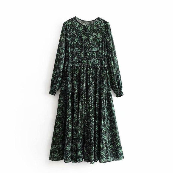 Summer Women Dress 2020 Casual Loose Long-Sleeved Round Neck Pleated Flower Print Dress 2020 Vestidos