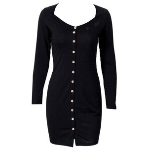 Women Winter Warm Sexy Long Sleeve Christmas Dress 2020 Ladies Costume Xmas Buttons Bodycon Slim Short Mini Dress 2020 Jumper Pencil Dress 2020