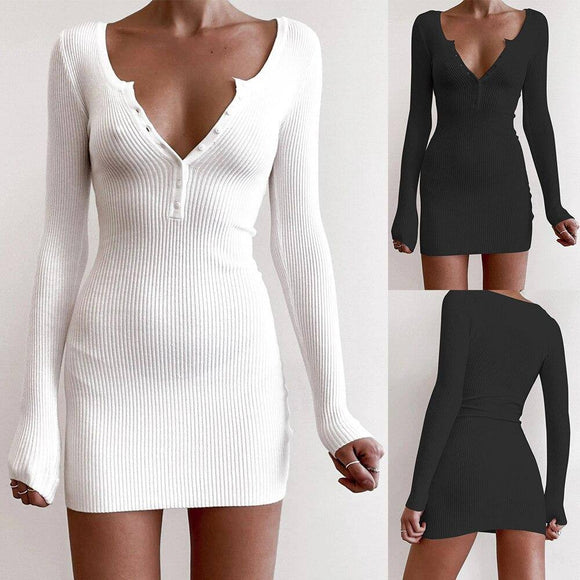 New Autumn Women V-Neck Solid Color Slim Dress 2020 Sexy Mini Low-Cut Button Dress 2020 Female Fashion Casual Long Sleeve White Dress 2020
