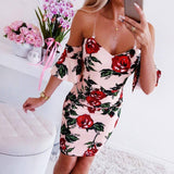 Rose Print Women'S Strap Dress 2020 Summer Sleeveless V-Neck Dress 2020 For Women Pink Bodycon Backless Ruffle Ladies Dress 2020 Vestidos D30