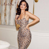 Straps Leopard Maxi Dress 2020 Woman Party Night Club U Neck Sexy Dress 2020 Ladies Summer Floor-Length Mermaid Long Dress 2020