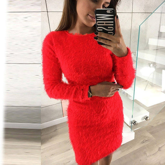 Fleece Sweater Dress 2020 Women Winter Long Sleeve Solid Warm Basic Short Dress 2020 Ropa Mujer Bodycon Dress 2020 Party Vestido De Festa