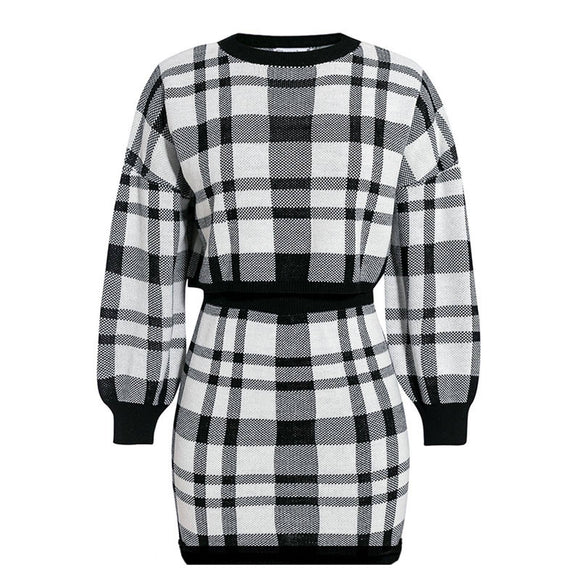 Women Two-Piece Clothes Set Black White Plaid Printed Pattern Long Sleeve Sweater 2020 + Short Skirt S M L Xl