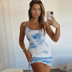 Casual Spaghetti Strap Low-Neck Mini Dress 2020 Women Summer Bodycon Printing Elastic Slim Lady High Waist Dress 2020 New