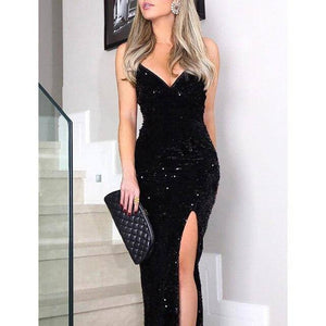 Sleeveless Long Sequin Dress 2021 Women High Slit Spaghetti Strap Dress 2021 Sexy V Neck Club Party Dress 2021 Maxi Black Sequined Vestidos
