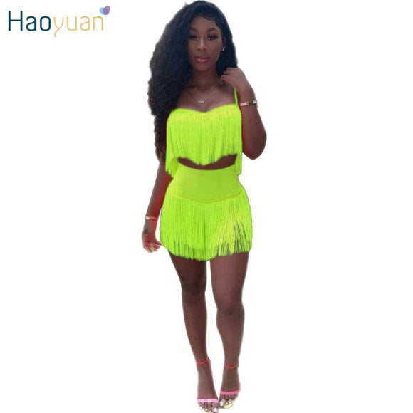 Haoyuan Neon Green Pink Sexy Two Piece Set Women Festival Rave Clothes Tassel Crop Top 2020 And Mini Skirts 2 Pcs Summer Club Outfits