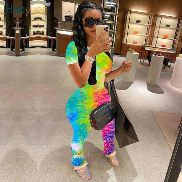 Haoyuan Tie Dye Two Piece Set Tracksuit Summer Outfits For Women Matching Sets Crop Top 2020 And Stacked Leggings Pants Sweat Suits