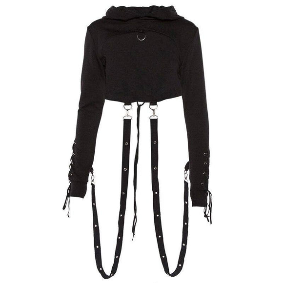 Long Sleeve Crop Top 2021 Black Gothic Crop Top 2021 Hoodies Streetwear Stitching Chain Hoodies Bandage Sexy Sweatshirt Crop Top 2021