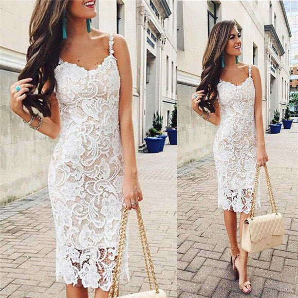 Lady Summer Sleeveless Bodycon Dress 2020 Lace Floral Sexy Strap Short Mini Pencil Dress 2020 Bodycon V-Neck Women Dress 2020 Sundress New