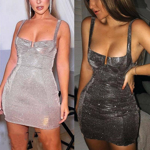 Women Sexy Ladies Sleeveless Strap Bodycon Dress 2020 Evening Party Mini Pencil Dress 2020 Short Sequin Shinny Skinny Clubwear Women Dress 2020