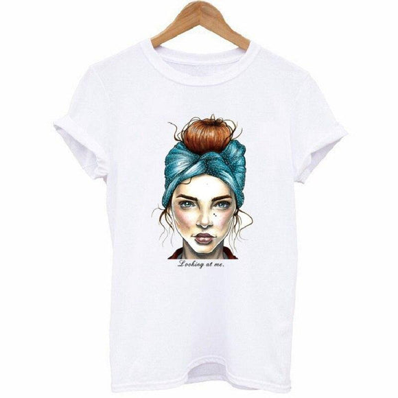 New Portrait of a female character looking at me Women Casual Tshirt 2021 Summer Fashion Style O-Neck Short Sleeve Tshirt XS-4XL