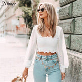 French Romance Ruffles See-Through Top 2020 Women T-ShirtsSpring Summer Elegant Ladies White Black Stretch Slim Teeshirts