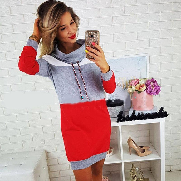 Bigsweety Casual Patchwork Hoodie Dress 2020 New Fashion Autumn Winter Turtleneck Long Sleeve Hooded Sweatshirt Mini Dress 2020 Vestidos