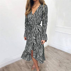 Summer Long Dress 2021 Women Zebra Print Beach Chiffon Dress 2021 Casual Long Sleeve V Neck Ruffles Elegant Party Dress 2021 Vestidos