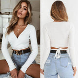 Summer Women Slim T-Shirt Black White Khaki Long Sleeve T Shirt Cross V-Neck Sexy Crop Top 2020