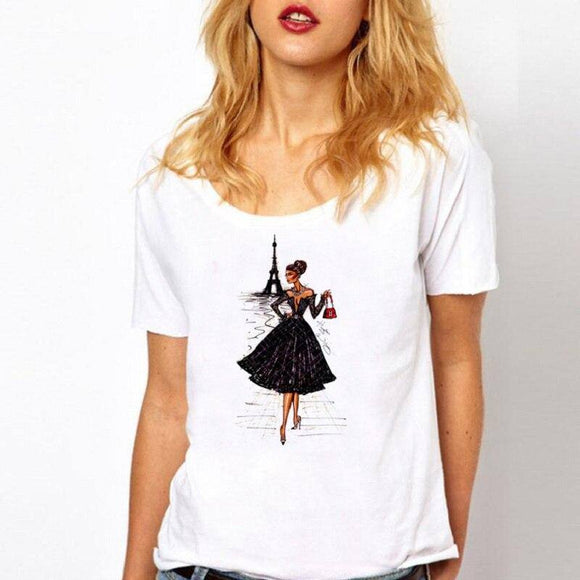 2021 Vintage Vogue Paris Black printing Girl Shirt summer fashion Women T Shirt novelty casual Tops hipster cool ladies Tee