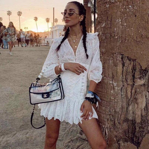 Summer Women'S Sexy Lace Crochet Ruffles Layered Dress 2020 Runway Hollow Out Party Mini Dress 2020 White Vestidos