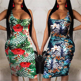 New Women Ladies Vintage Sleeveless Summer Boho Printed Dress 2020 Beach Casual Loose Sundress Tight Sexy Sling Hawaiian Dress 2020