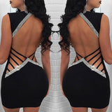New Fashion Women Sequined Sexy Dress 2020 Deep V Neck Summer Hollow Out Backless Ladies Evening Party Mini Dress 2020 Slim Pencil Dress 2020