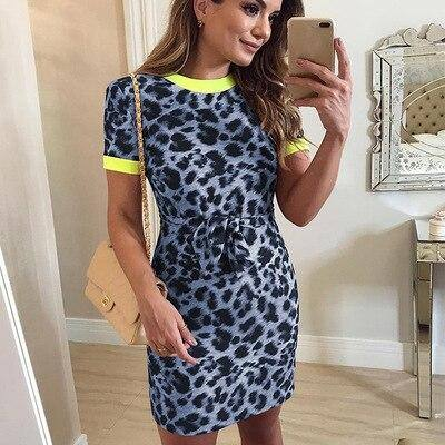 New Casual Leopard Print Knee Length Dress 2021 Womens Fashion Short Sleeve Dress 2021 O-Neck Slim Fit Jumper Dress 2021 Elbise Vadim