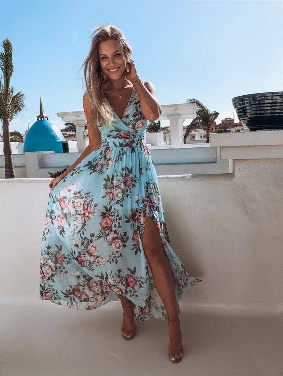 Bohemia Sexy Women Boho Floral Long Maxi Dress 2020 Sleeveless Deep V High Waist Split Dress 2020 Summer Beach Style Holiday Party Dress 2020