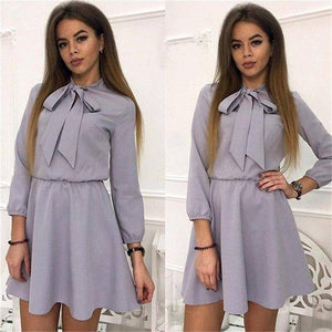 Summer Causal Long Sleeve Dress 2020 Femme Vetidos Women'S Elastic Waist Dress 2020 Solid Color Summer Bow-Knot A-Line Mini Dress 2020