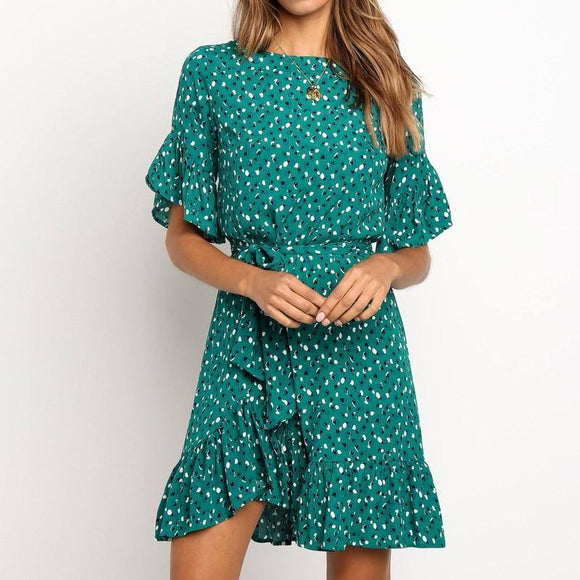 New Green Ruffles Trim Floral Print Women Dress 2020 Summer Short Sleeve O-Neck Sashes Dress 2020 Ladies Mini Boho Beach Sundresses